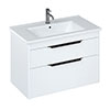 Britton Shoreditch 850mm Wall-Hung Double Drawer Vanity Unit with Black Handles - Matt White profile small image view 1