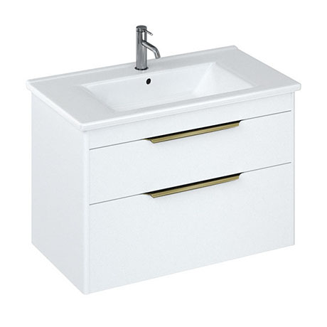 Britton Shoreditch 850mm Wall-Hung Double Drawer Vanity Unit with Brass Handles - Matt White