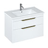 Britton Shoreditch 850mm Wall-Hung Double Drawer Vanity Unit with Brass Handles - Matt White profile small image view 1