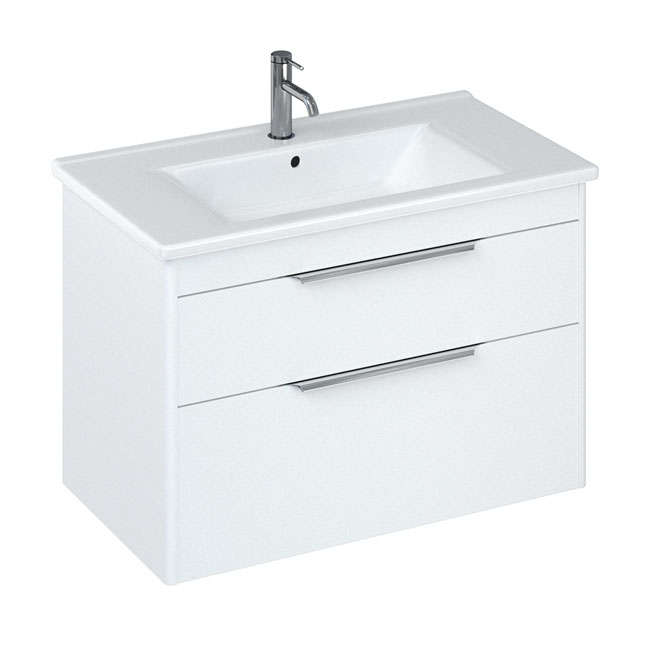 Britton Shoreditch 850mm Wall-Hung Double Drawer Vanity Unit with Chrome Handles - Matt White