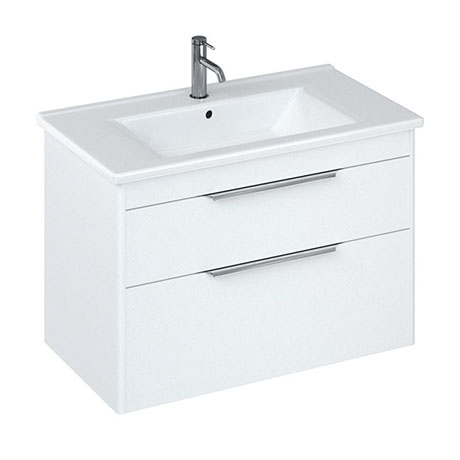 Britton Shoreditch 850mm Wall-Hung Double Drawer Vanity Unit - Matt White