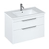 Britton Shoreditch 850mm Wall-Hung Double Drawer Vanity Unit with Chrome Handles - Matt White profile small image view 1