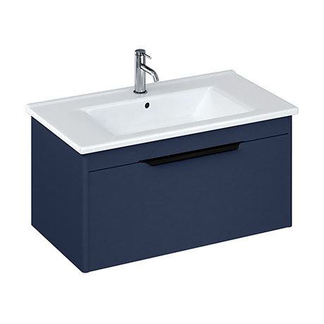 Britton Shoreditch 850mm Wall-Hung Single Drawer Vanity Unit with Black Handle - Matt Blue