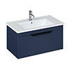 Britton Shoreditch 850mm Wall-Hung Single Drawer Vanity Unit with Black Handle - Matt Blue profile small image view 1