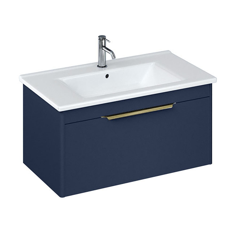 Britton Shoreditch 850mm Wall-Hung Single Drawer Vanity Unit with Brass Handle - Matt Blue