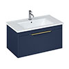 Britton Shoreditch 850mm Wall-Hung Single Drawer Vanity Unit with Brass Handle - Matt Blue profile small image view 1