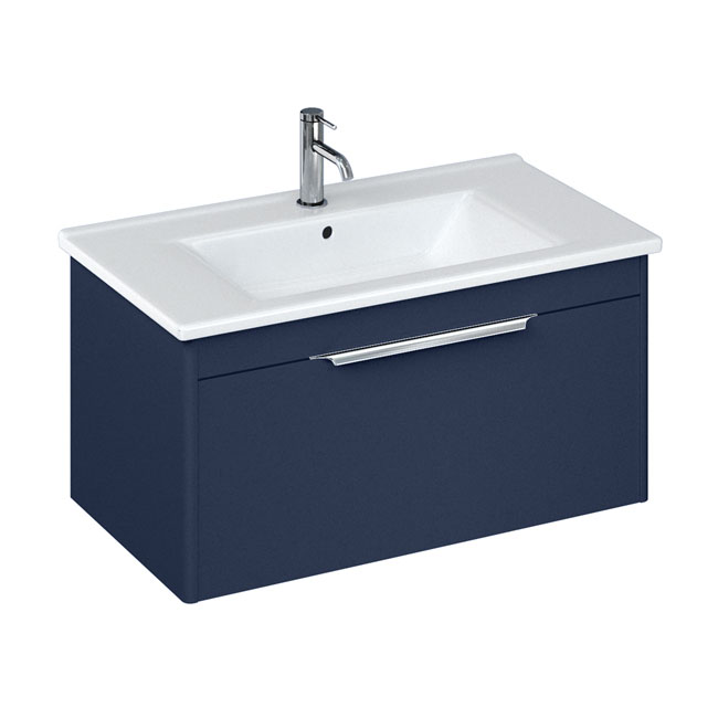Britton Shoreditch 850mm Wall-Hung Single Drawer Vanity Unit with Chrome Handle - Matt Blue