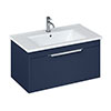 Britton Shoreditch 850mm Wall-Hung Single Drawer Vanity Unit with Chrome Handle - Matt Blue profile small image view 1