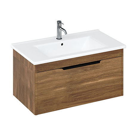 Britton Shoreditch 850mm Wall-Hung Single Drawer Vanity Unit with Black Handle - Caramel