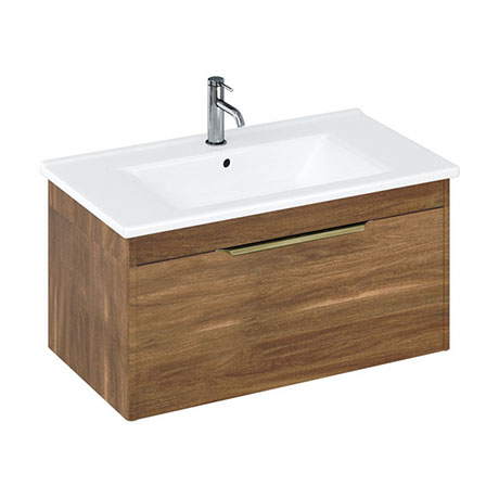 Britton Shoreditch 850mm Wall-Hung Single Drawer Vanity Unit with Brass Handle - Caramel