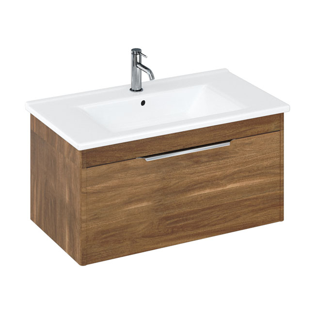 Britton Shoreditch 850mm Wall-Hung Single Drawer Vanity Unit with Chrome Handle - Caramel