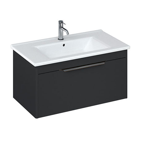 Britton Shoreditch 850mm Wall-Hung Single Drawer Vanity Unit with Black Handle - Matt Grey