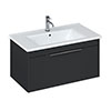 Britton Shoreditch 850mm Wall-Hung Single Drawer Vanity Unit with Black Handle - Matt Grey profile small image view 1