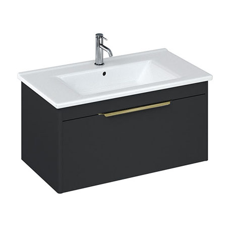 Britton Shoreditch 850mm Wall-Hung Single Drawer Vanity Unit with Brass Handle - Matt Grey