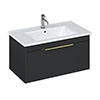 Britton Shoreditch 850mm Wall-Hung Single Drawer Vanity Unit with Brass Handle - Matt Grey profile small image view 1