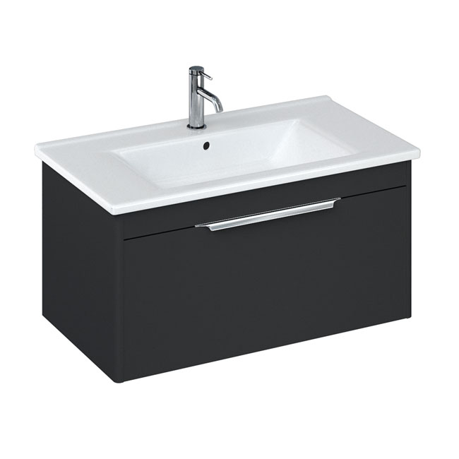 Britton Shoreditch 850mm Wall-Hung Single Drawer Vanity Unit with Chrome Handle - Matt Grey