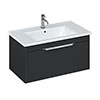 Britton Shoreditch 850mm Wall-Hung Single Drawer Vanity Unit with Chrome Handle - Matt Grey profile small image view 1