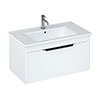 Britton Shoreditch 850mm Wall-Hung Single Drawer Vanity Unit with Black Handle - Matt White profile small image view 1