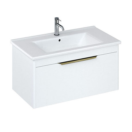 Britton Shoreditch 850mm Wall-Hung Single Drawer Vanity Unit with Brass Handle - Matt White