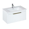 Britton Shoreditch 850mm Wall-Hung Single Drawer Vanity Unit with Brass Handle - Matt White profile small image view 1