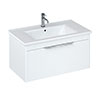 Britton Shoreditch 850mm Wall-Hung Single Drawer Vanity Unit with Chrome Handle - Matt White profile small image view 1