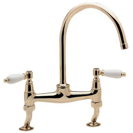 Tre Mercati - Series 900 Lever Dual Flow Bridge Pillar Kitchen Sink Mixer - Antique Gold - S9-LEV/24