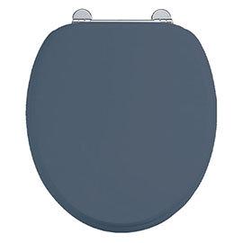 Burlington Soft Close Toilet Seat with Chrome Hinges - Blue