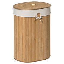 Saroma Oval Bamboo Laundry Hamper - Natural Medium Image