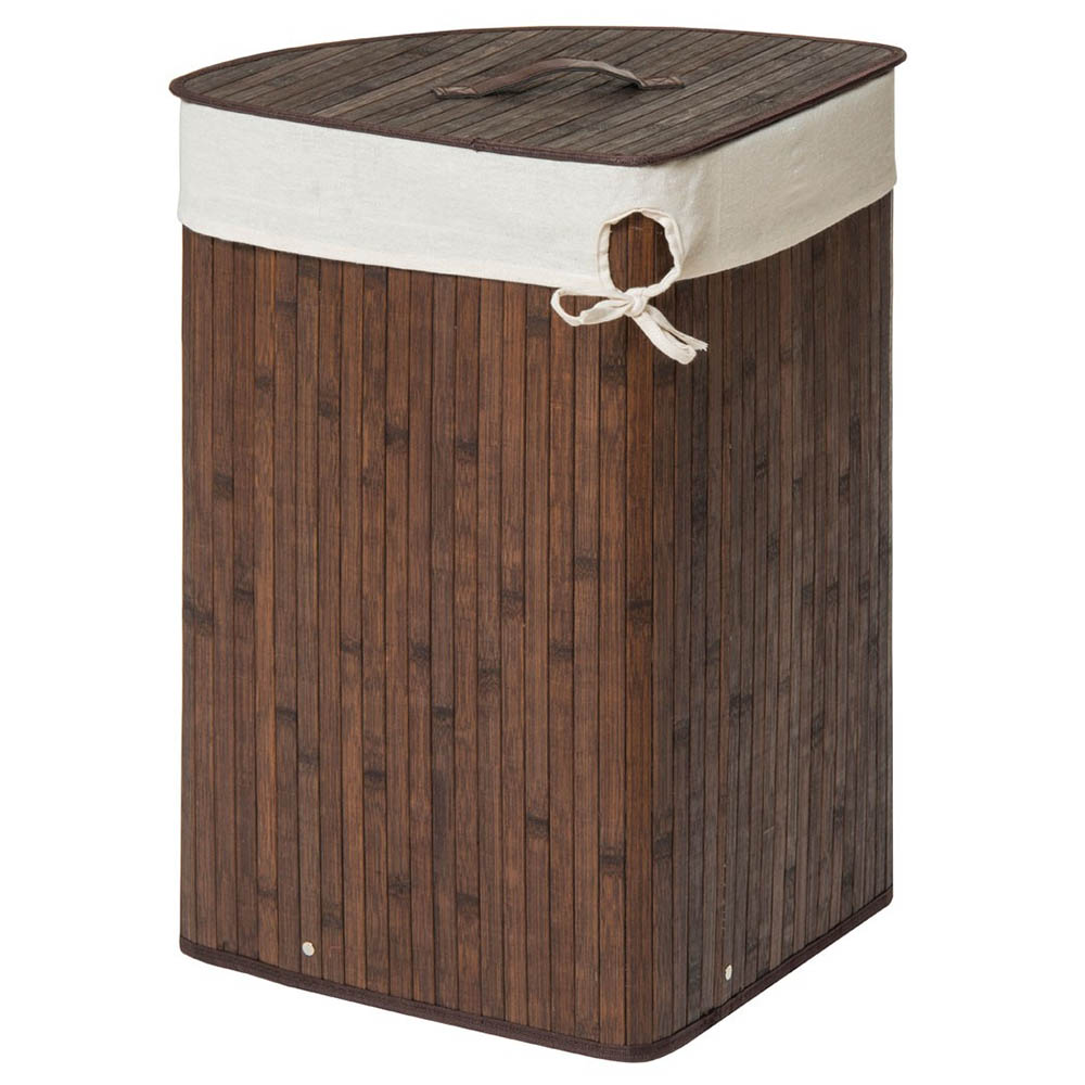 Saroma Corner Bamboo Laundry Hamper - Dark Brown - bamboo laundry hamper cut out image