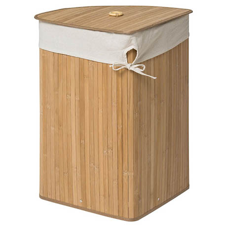 Saroma Corner Bamboo Laundry Hamper - Natural