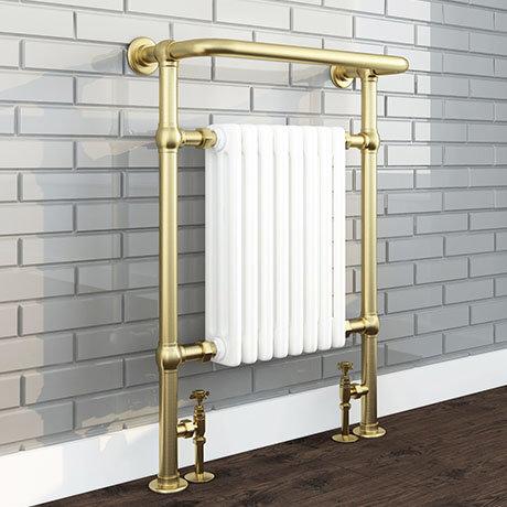 Savoy Brushed Brass Traditional Heated Towel Rail Radiator