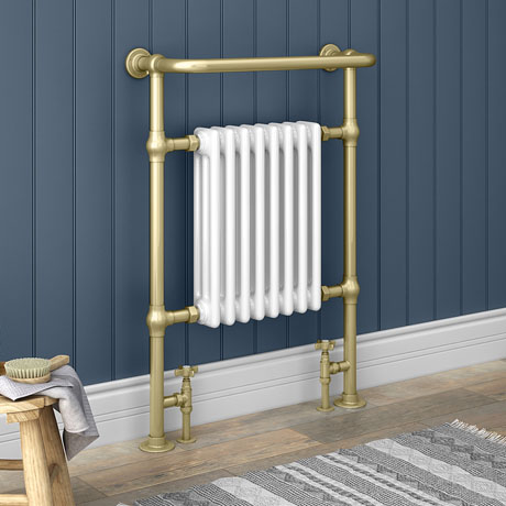 Savoy Brushed Brass Traditional Heated Towel Rail Radiator