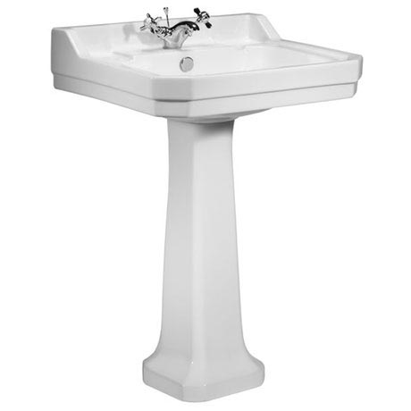 Tavistock Vitoria 605mm Ceramic Basin & Pedestal - 1 Tap Hole