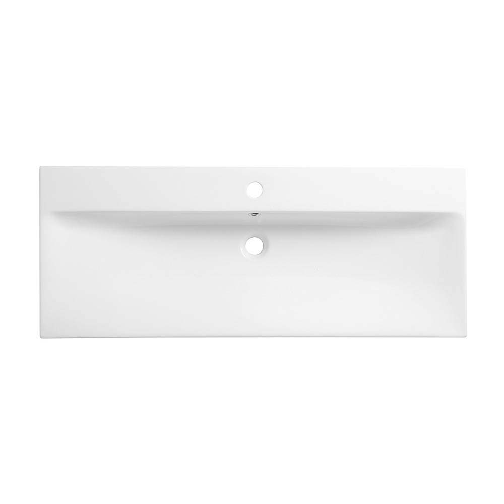 Roper Rhodes Scheme 1000mm Wall Mounted Double Drawer Unit with Ceramic Basin - Gloss Dark Clay profile large image view 3