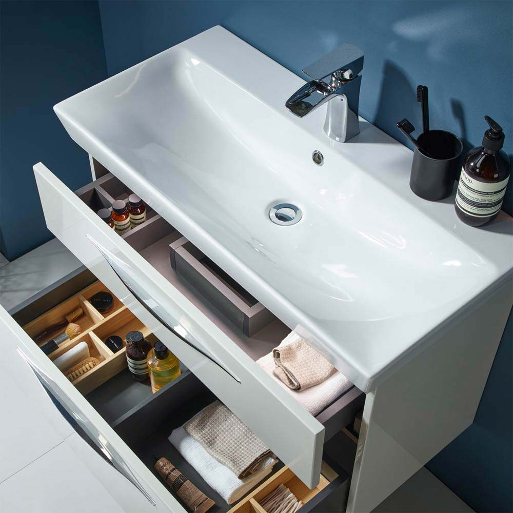 Roper Rhodes Scheme 1000mm Wall Mounted Double Drawer Unit with Ceramic Basin - Gloss Dark Clay  Standard Large Image