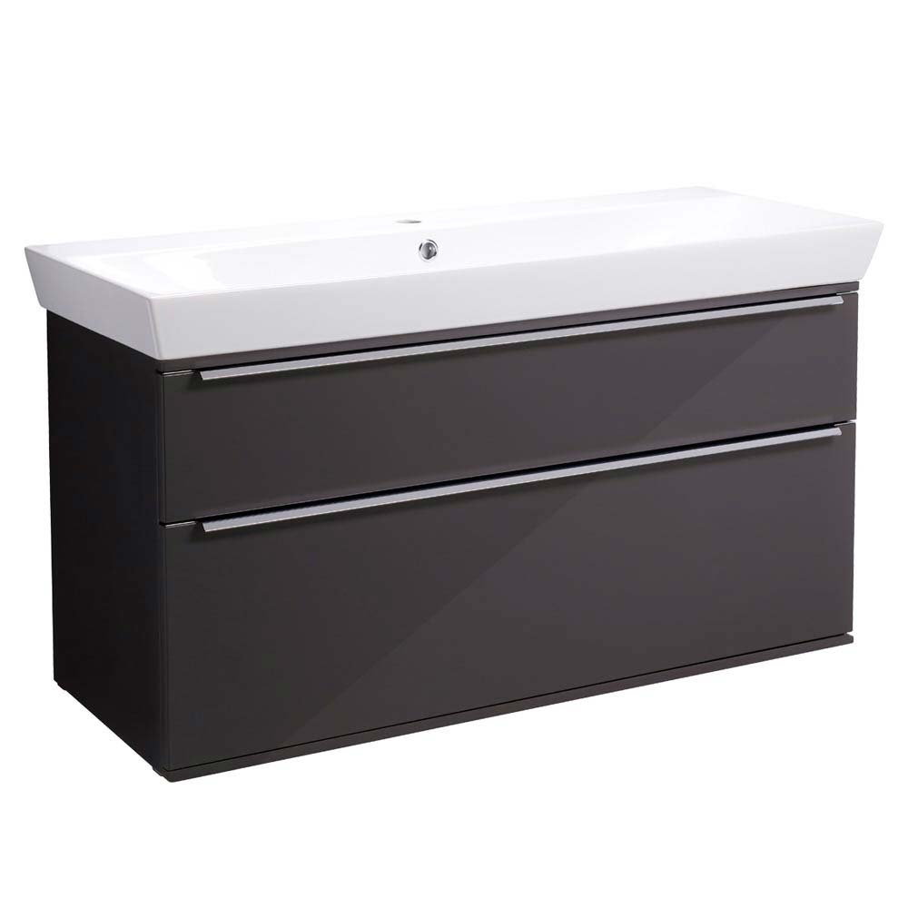Roper Rhodes Scheme 1000mm Wall Mounted Double Drawer Unit with Ceramic Basin - Gloss Dark Clay Larg