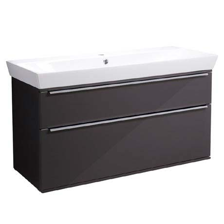 Roper Rhodes Scheme 1000mm Wall Mounted Double Drawer Unit with Ceramic Basin - Gloss Dark Clay