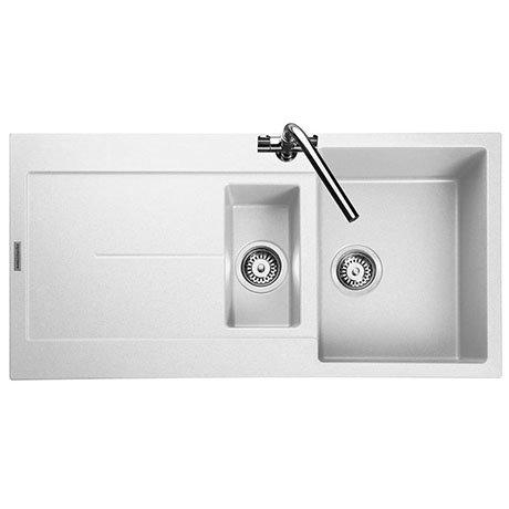 Rangemaster Scoria 1000 x 500mm Igneous Crystal White 1.5 Bowl Inset Sink - SCO1052CW
