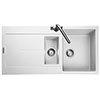 Rangemaster Scoria 1000 x 500mm Igneous Crystal White 1.5 Bowl Inset Sink - SCO1052CW profile small image view 1