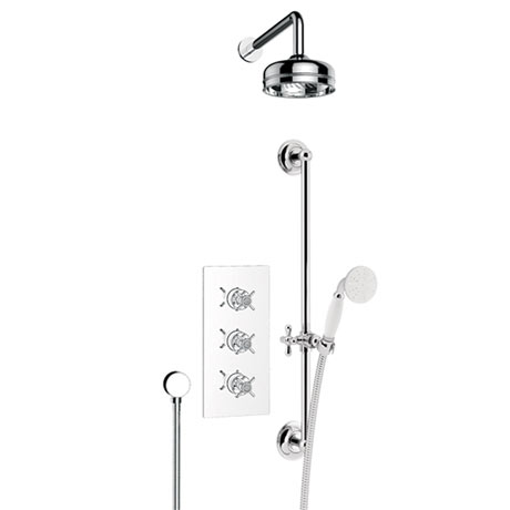 "Heritage - Dawlish Concealed Valve with 6"" Fixed Head & Adjustable Riser - Chrome - SDCDUAL03"