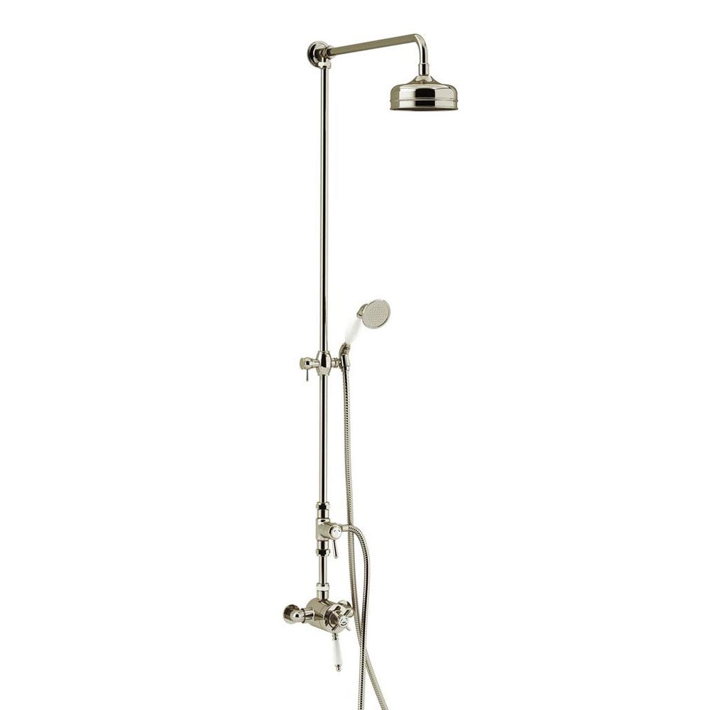 Heritage Dawlish Exposed Shower with Premium Fixed Riser Kit & Diverter to Handset - Vintage Gold -