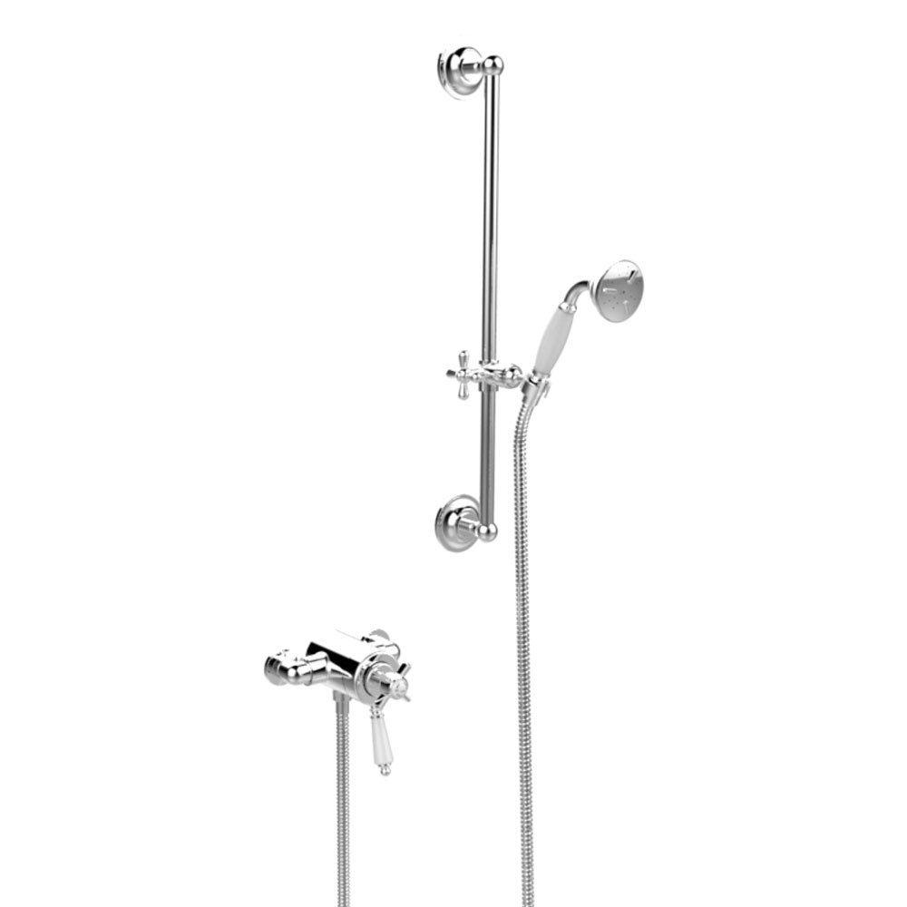 Heritage Dawlish Exposed Shower with Premium Flexible Riser Kit - Chrome - SDCDUAL09 Large Image