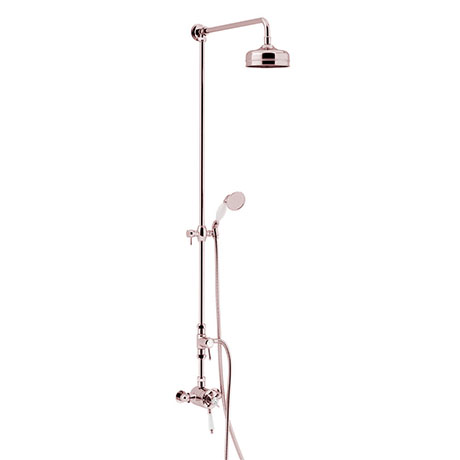Heritage Dawlish Exposed Shower with Premium Fixed Riser Kit & Diverter to Handset - Rose Gold - SDR