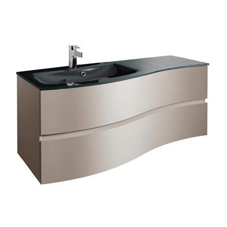 Bauhaus Svelte 120 Two Drawer Vanity Unit & Charcoal Glass Basin - Matt Coffee