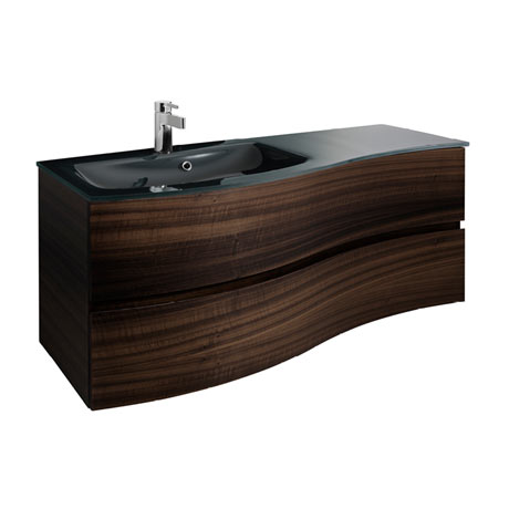 Bauhaus Svelte 120 Two Drawer Vanity Unit & Charcoal Glass Basin - Eucalyptus