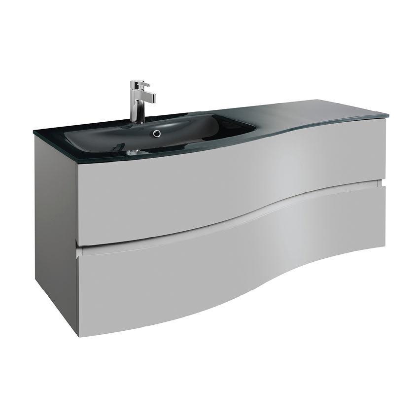 Crosswater Svelte 120 Two Drawer Vanity Unit & Charcoal Glass Basin - Storm Grey Matt