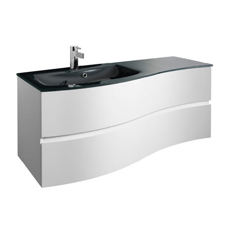 Bauhaus Svelte 120 Two Drawer Vanity Unit & Charcoal Glass Basin - White Gloss