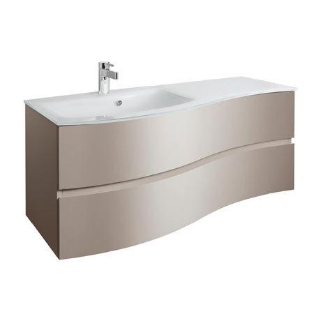 Bauhaus Svelte 120 Two Drawer Vanity Unit & Ice White Glass Basin - Matt Coffee