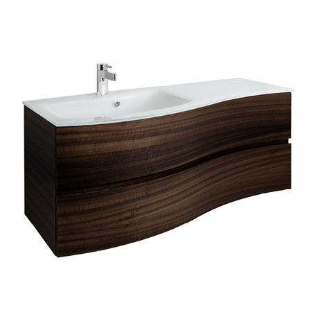Bauhaus Svelte 120 Two Drawer Vanity Unit & Ice White Glass Basin - Eucalyptus
