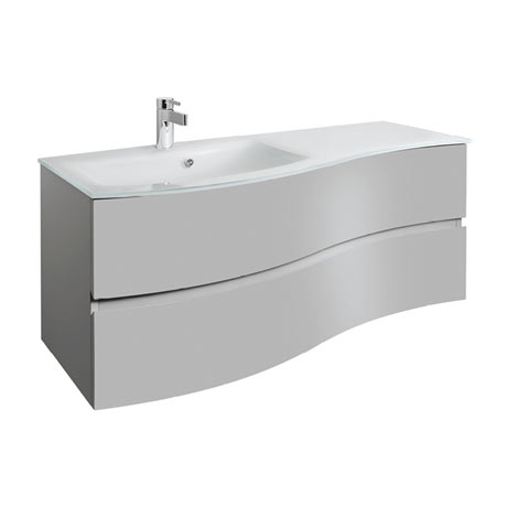 Bauhaus Svelte 120 Two Drawer Vanity Unit & Ice White Glass Basin - Storm Grey Matt